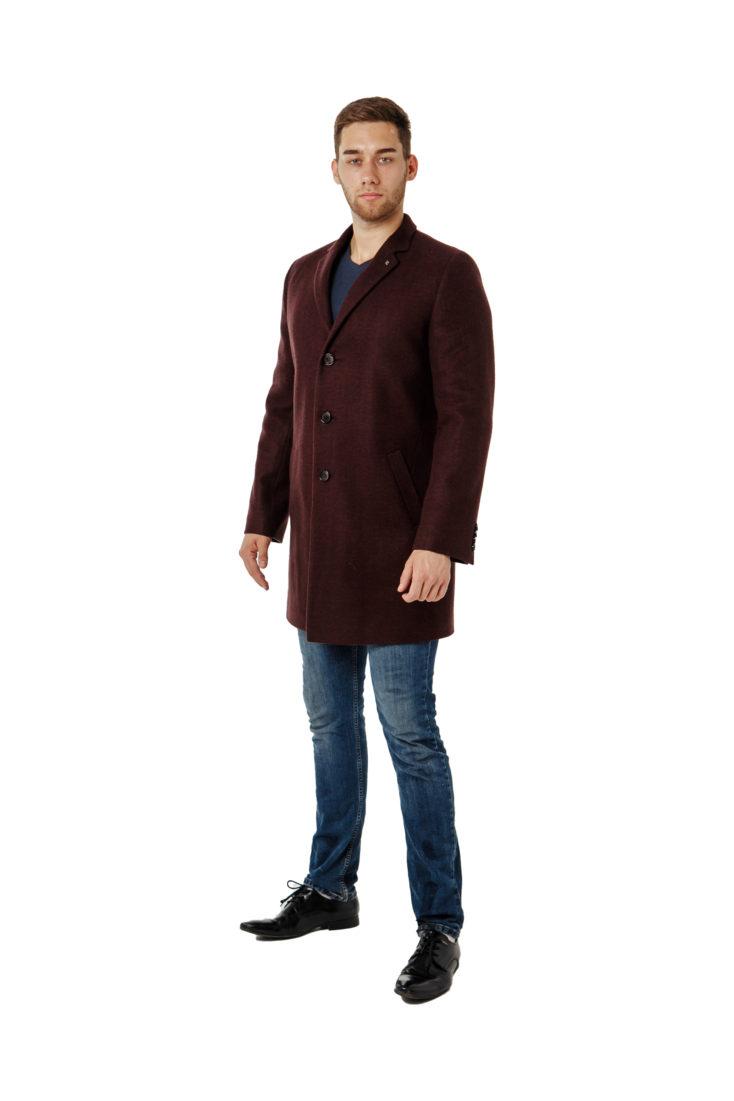 Пальто мужское бургунди