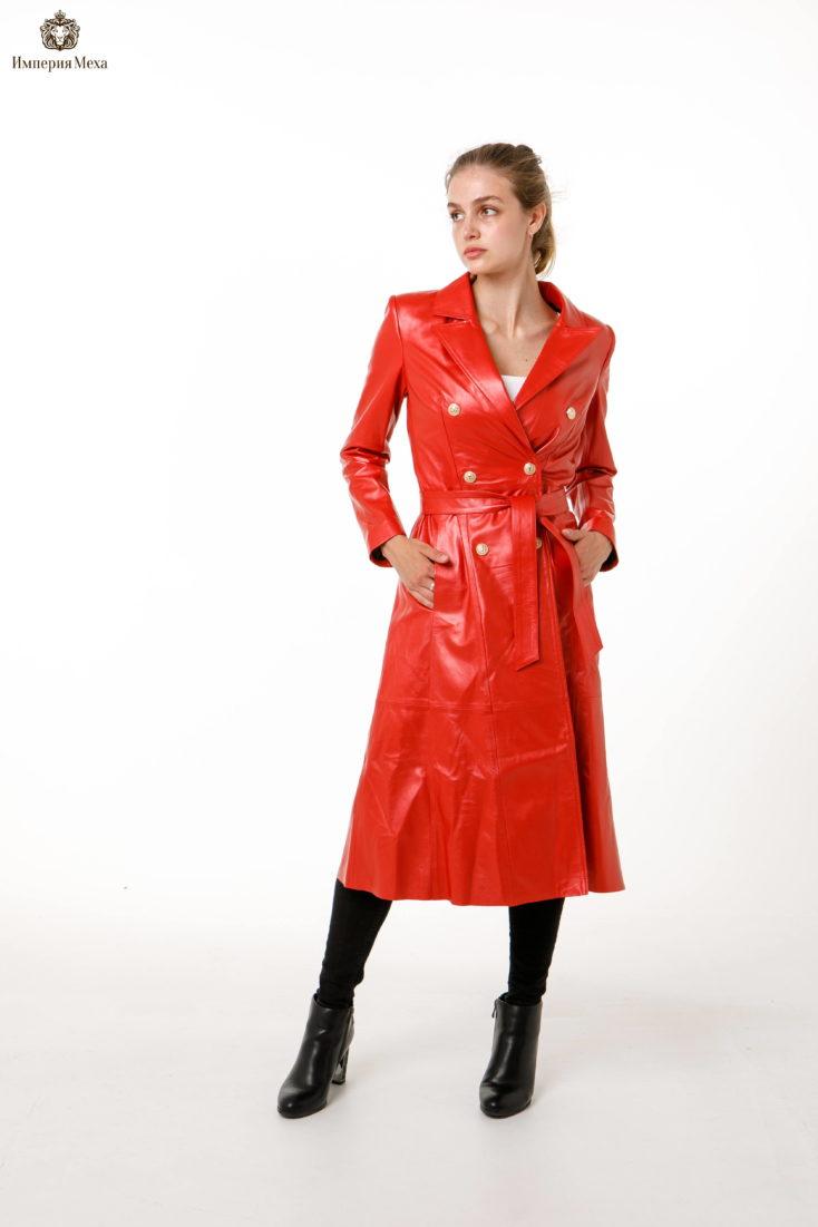 Красный кожаный плащ Nebraska
