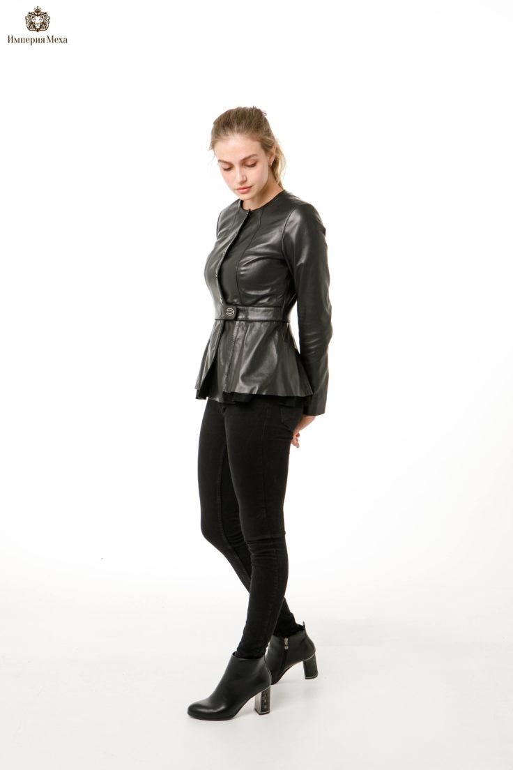 Кожаная куртка c баской Dio Gomez