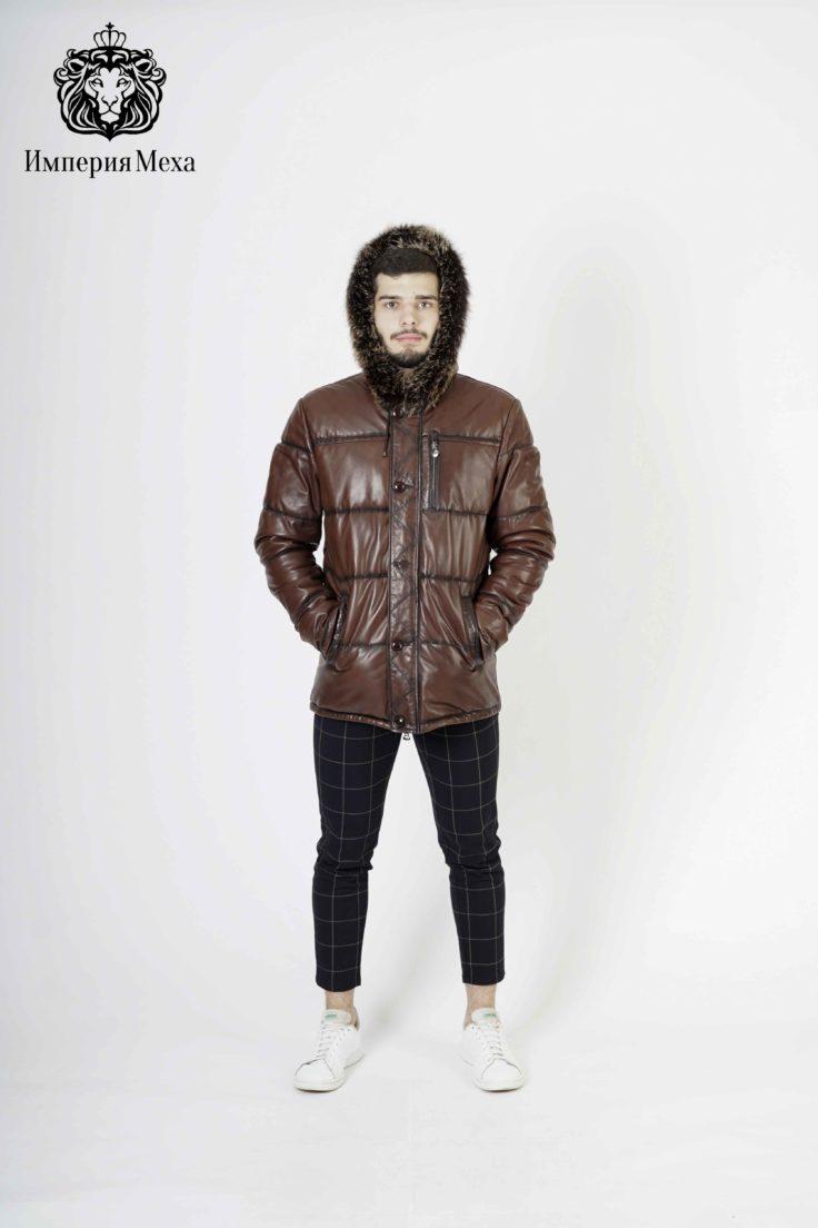 Пуховик мужской кожаный Dio Gomez 71020-E