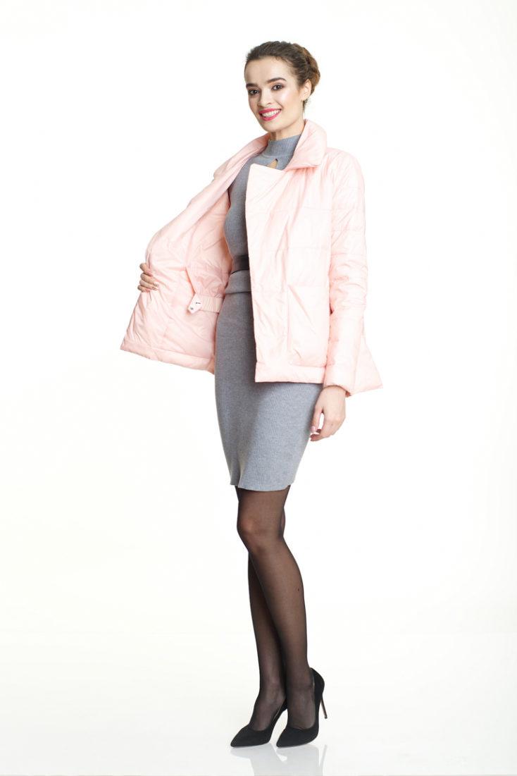 Пуховик укороченный розовый 116