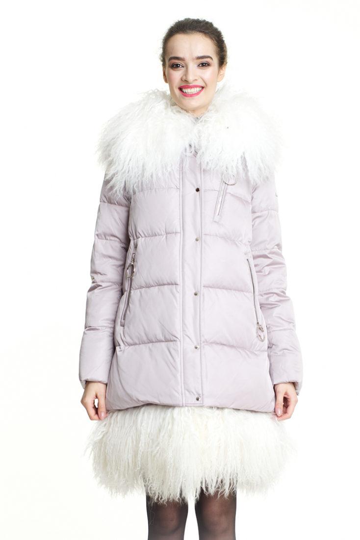 Пуховик женский светло-розовый 176