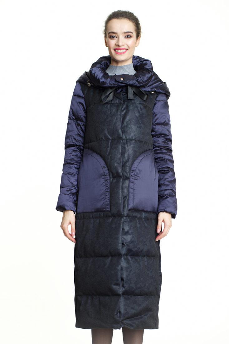 Пуховик удлинённый черно-фиолетовый 180
